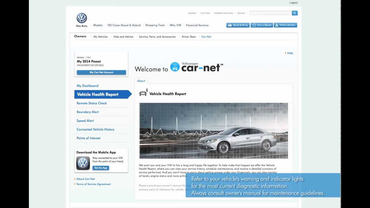 volkswagen car net web portal overview youtube. Black Bedroom Furniture Sets. Home Design Ideas