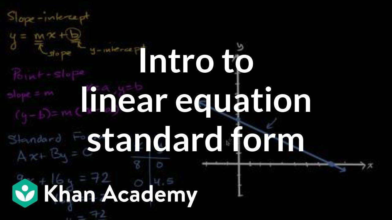 intercept form to standard form calculator  Intro to linear equation standard form | Algebra (video ...