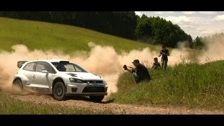 latvala and mikkelsen in action before wrc 72 rally poland evostudio