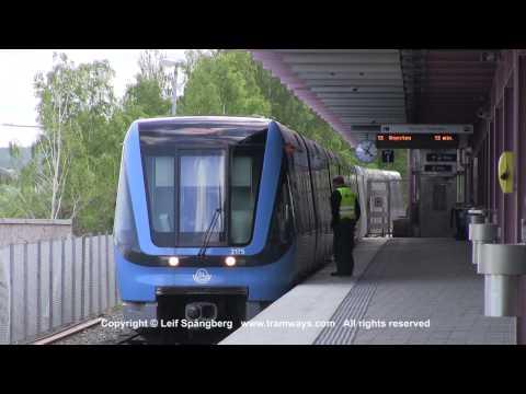 SL Tunnelbana tåg / Metro trains at Norsborg station, Stockholm, Sweden
