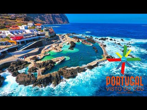Porto Moniz natural swimming pool aerial view - Madeira Island - 4K Ultra HD