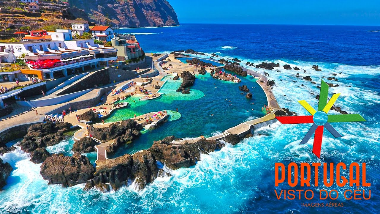 porto moniz natural swimming pool aerial view madeira island 4k ultra hd youtube