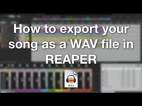 How to export your song as a WAV file in REAPER