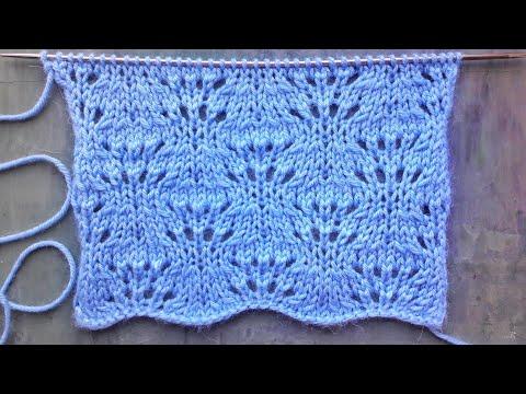 Красивый ажурный узор спицами для вязания свитера, палантина, шапочки на весну
