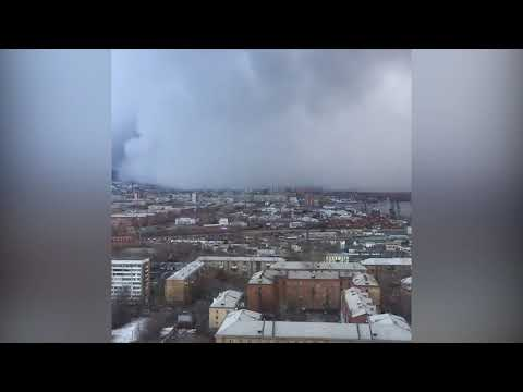Snow tsunami in Russia