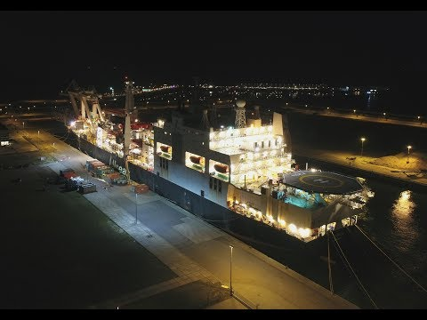 Allseas Audacia Pipelay Vessel at Night
