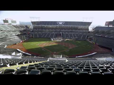 O.Co Stadium A's to Raiders Game Transformation - Time Lapse