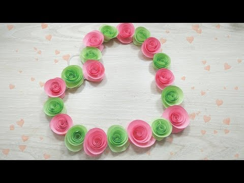 DIY Paper Heart Wall Hanging | Rose Flower | Easy Wall Decoration Ideas