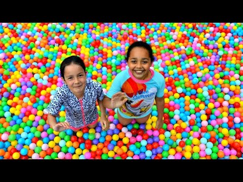 Thumbnail: Giant Ball Pit Pool Toy Challenge - Surprise Eggs - Mashems - Shopkins - Num Noms Prizes