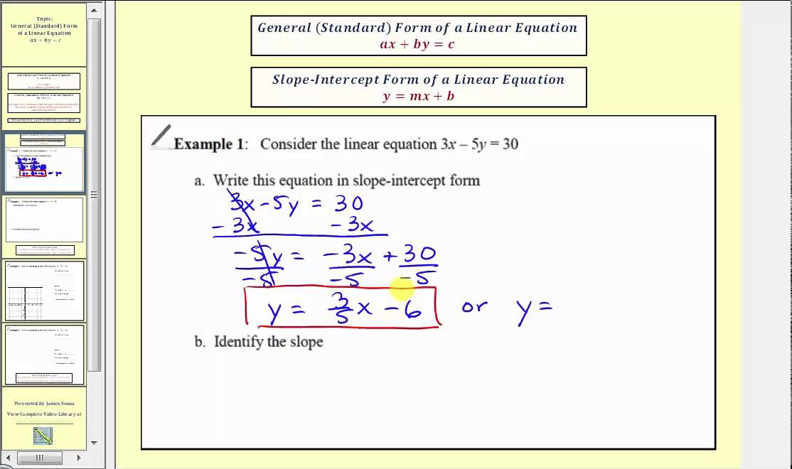 Introduction To General Standard Form Of A Linear Equation L114a