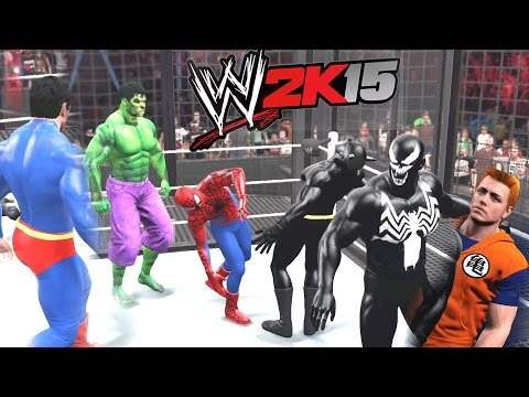 WWE 2K15 - Spiderman Vs Batman Vs Hulk Vs Venom Vs Superman Vs Goku