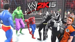 WWE 2K15 - Spiderman vs Batman vs Hulk vs Venom vs Superman vs Goku