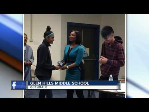 Shannon Sims visits Glen Hills Middle School