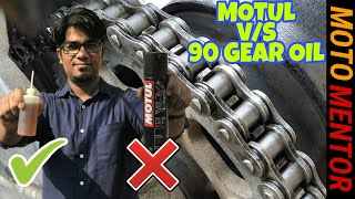 HOW TO CLEAN AND LUBE MOTORCYCLE CHAIN MOTUL CHAIN LUBE VS 90 GEAR OIL