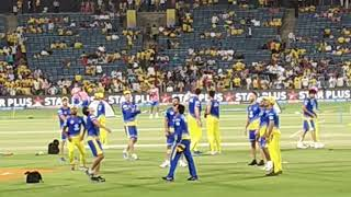 Dhoni & CSK playing football before match in MCA STADIUM PUNE