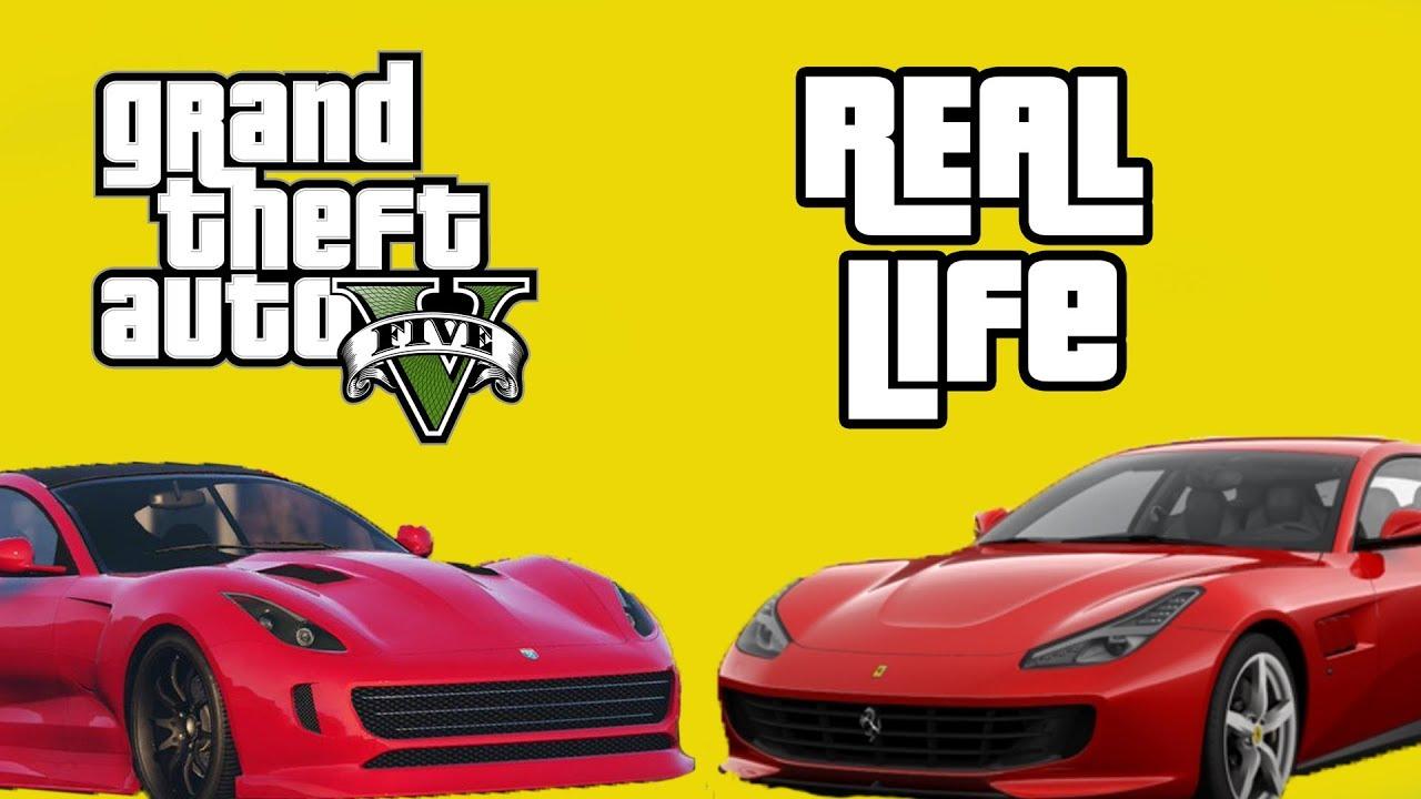 FERRARI CARS IN REAL LIFE VS GTA V