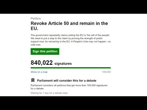Watch the number of signatures rise on the petition to cancel Brexit