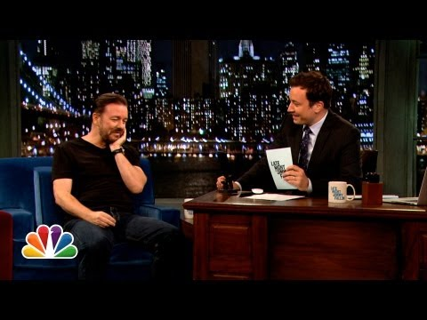 Web Exclusive: Ricky Gervais Answers His Twonks (Late Night with Jimmy Fallon)