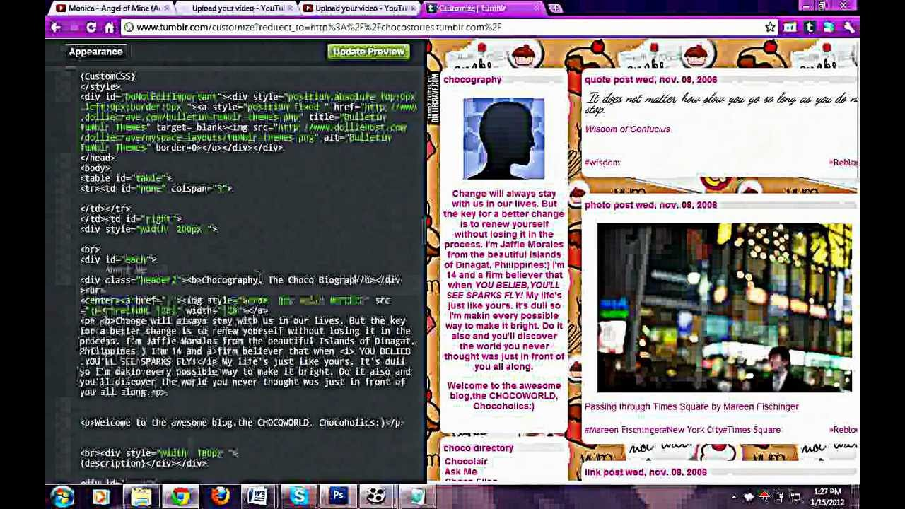 Most basic ways to edit your HTML Tumblr codes - YouTube