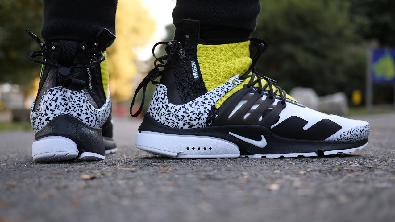 low priced ce2ef dc734 Acronym x Nike Air Presto Mid (WhiteDynamic Yellow) Quick Look  On Feet
