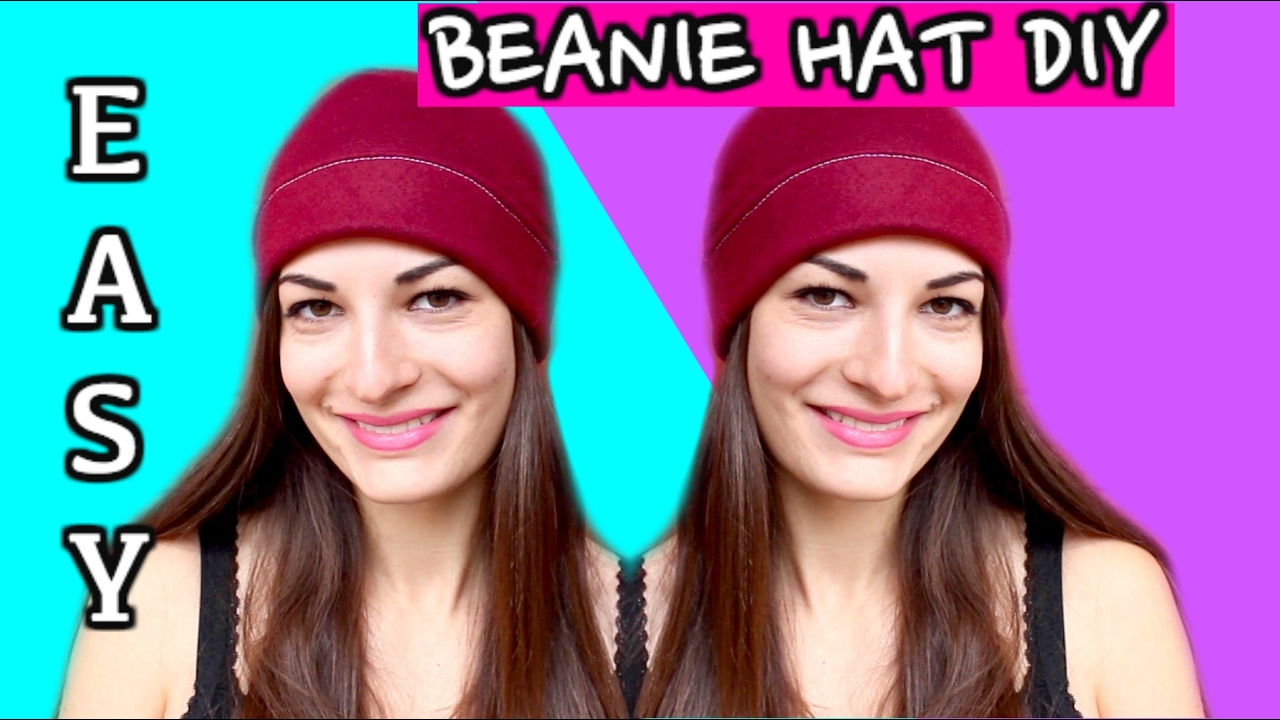 How to Make a Beanie Hat without a Pattern! Sewing Easy DIY Beanie Hat  Tutorial - 30f953024adc