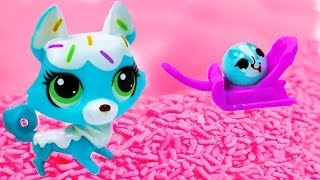 Littlest Pet Shop Frosting Sprinkle Husky Dog And Rolleroo Lps Toy Unboxing Review