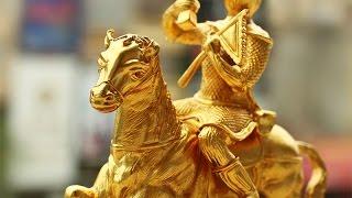 Tượng mã thương phong hầu bằng đồng, Khỉ cưỡi ngựa phong thủy mạ vàng 24K