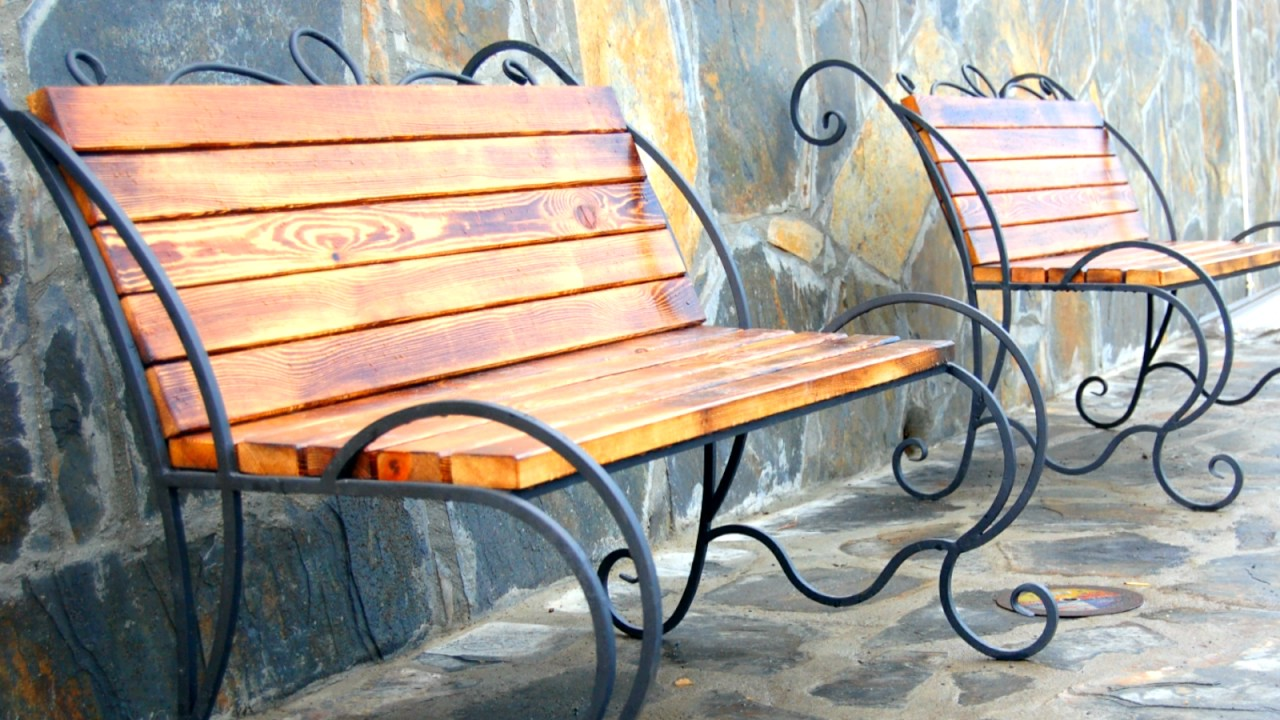 Кованая садовая скамейка. - YouTube