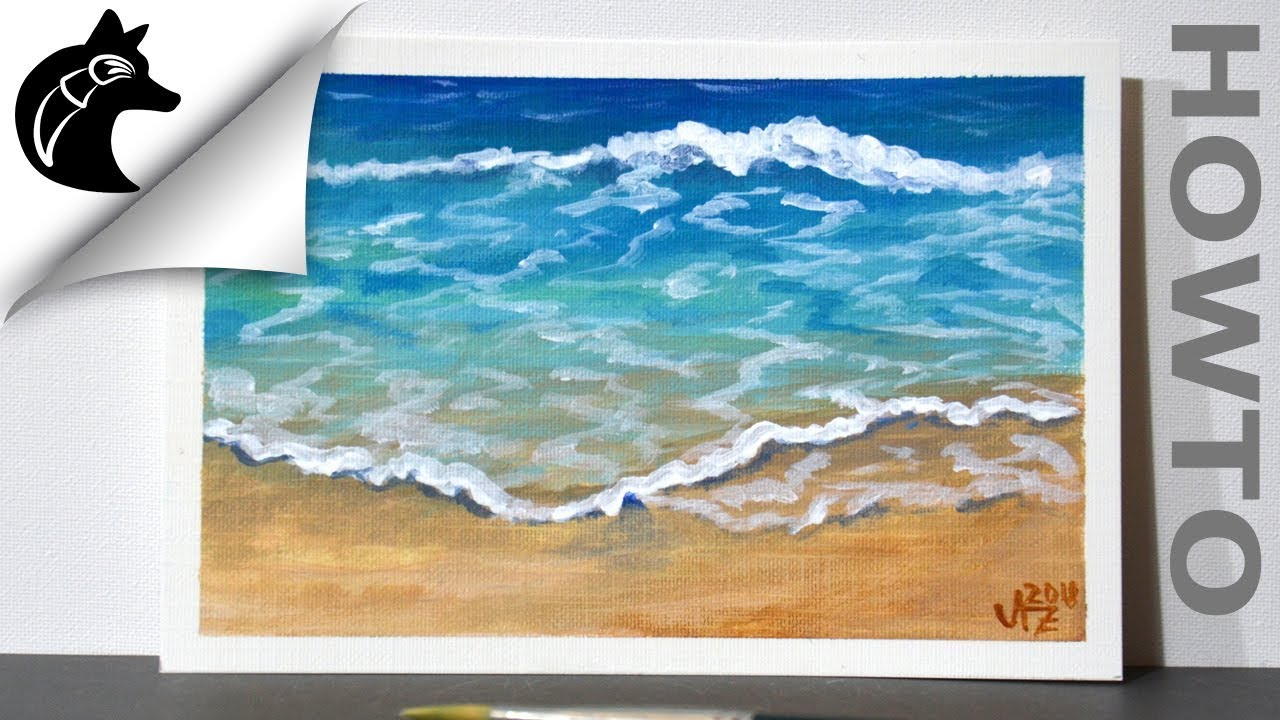 How to paint Waves acrylic painting  YouTube