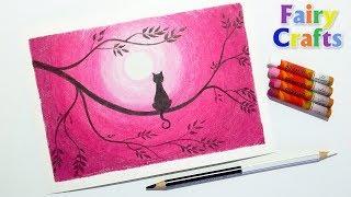 Кошка на дереве - Как нарисовать пейзаж масляной пастелью поэтапно для начинающих