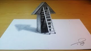 how to make 3d shape - how to draw ladder 3D optical illusion - ladder 3d drawing
