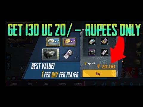 Pubg Mobile Get 130 UC only 20 rupees  8000 UC Purchase Pubg Mobile Free