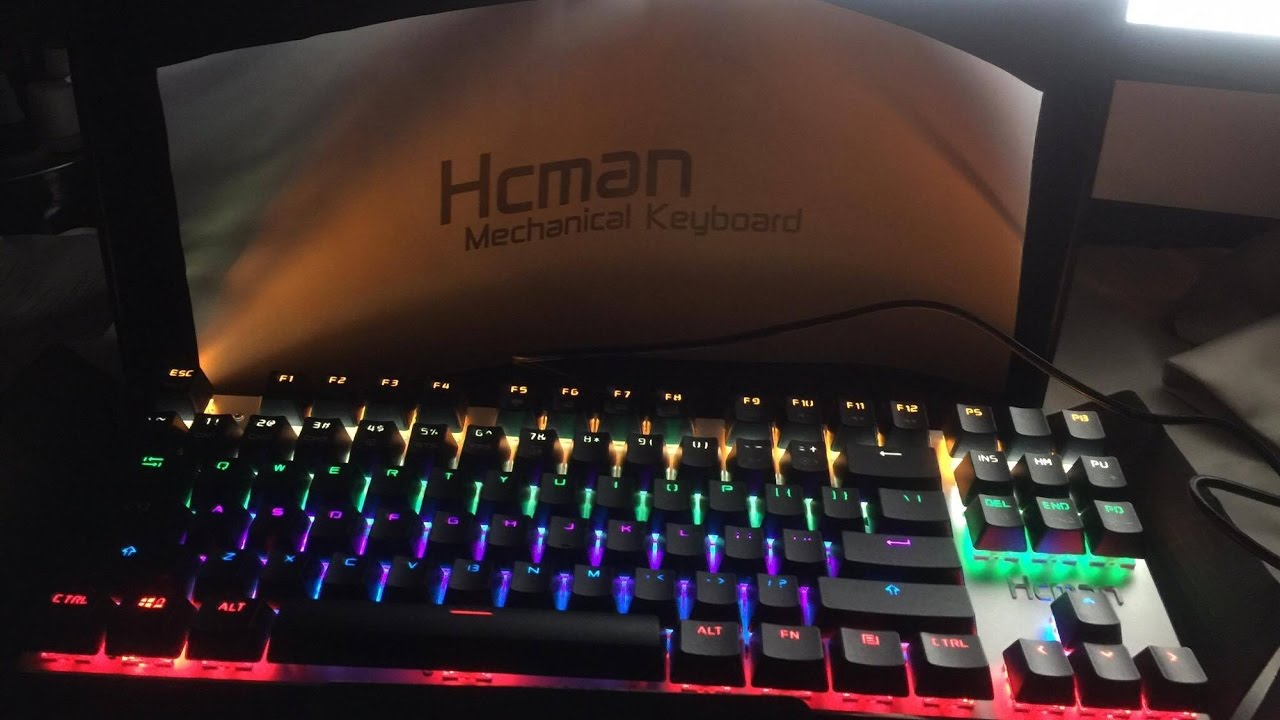 98910c8ac24 Hcman Mechanical Gaming Keyboard LED Backlit87 Keys, Blue Switch (Black) -  YouTube