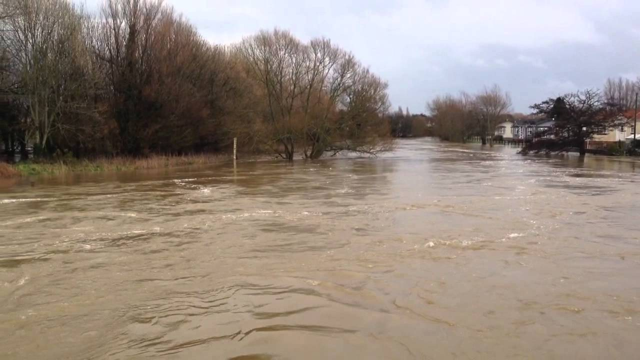 Flooding At Iford Bridge Between Christchurch And Bournemouth On The River Stour