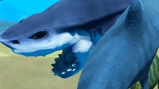 GIANT SHARK VS TIGER SHARK! - Feed and Grow Fish - Part 1 | Pungence