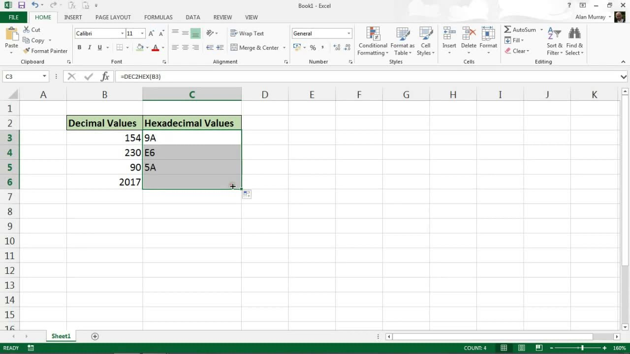 Convert Decimal Values To Hexadecimal Excel Formula Youtube