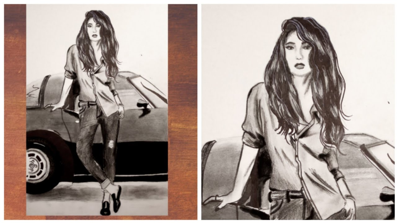 Stylish girl with car pencil drawing