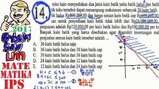 un sma 2017 matematika IPS , pembahasan no 14, program linear , nilai maksimum