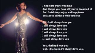 Whitney Houston - I Will Always Love You /\ Lyrics On A Screen