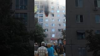 Жесть, пожар в жилом доме, горит квартира, ужас.
