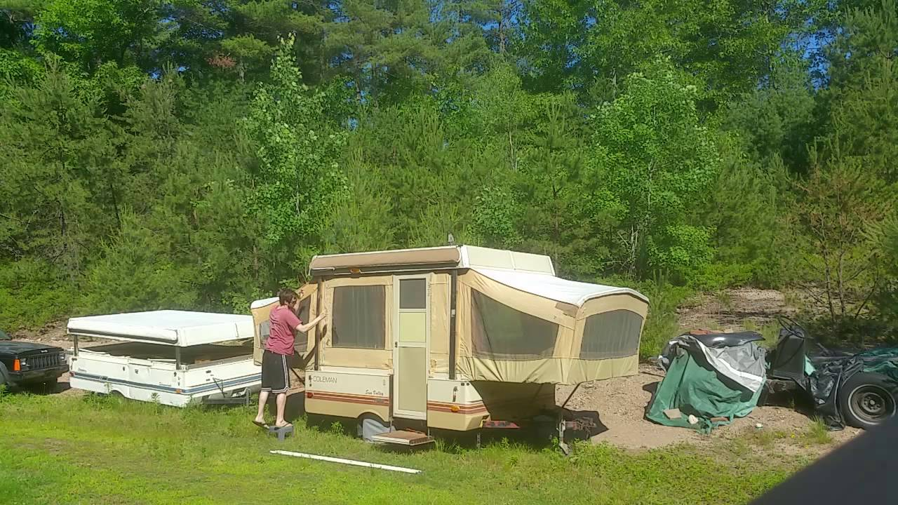 Popup Camper Awning Setup Alone Youtube