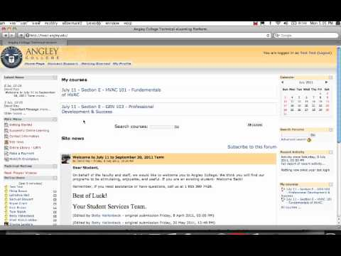 Moodle Login Demo for Angley College