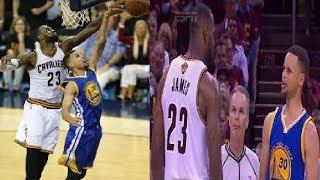 LeBron James blocks Stephen Curry FIGHT