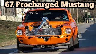 67 Procharged Mustang Fastback vs Nitrous Fox at Wagoner Oklahoma street drags