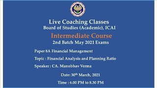 Intermediate Paper-8A: FM - Topic: Financial Analysis \u0026 Planning..,Evening Session Date:30-03-2021