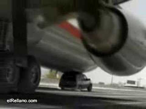 Plane lands on a car