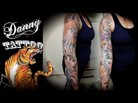 Oriental Fechamento de braço - parte 1 -  Danny Tattoo (Oriental Full Sleeve Tattoo part 1)