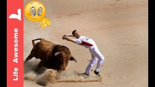 Most Awesome Bull fighting Festival 😝😝 Funny Video 2018😎Crazy people😂😂Try not to Laugh or grin