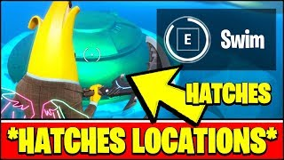 SWIM OVER HATCHES AT THE AGENCY LOCATIONS (Fortnite STORM THE AGENCY Challenges)