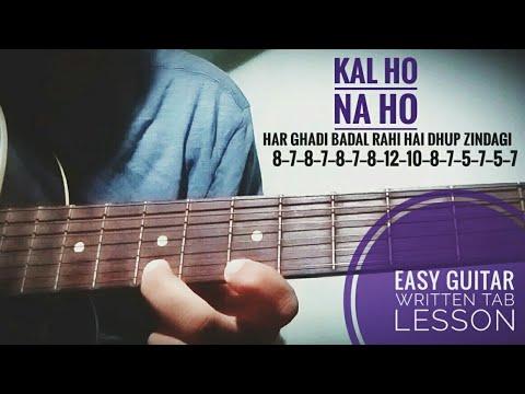 Kal Ho Na Ho / Single String Easy Guitar Written Tab / Lead Lesson ...